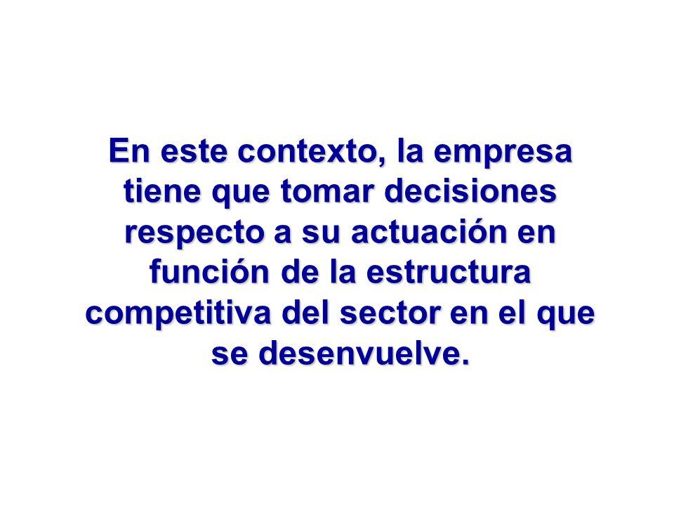 En este contexto, la empresa tiene que tomar decisiones respecto a su actuación en función de la estructura competitiva del sector en el que se desenv