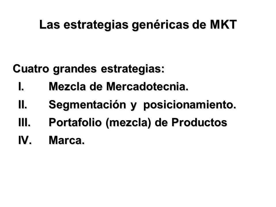 Las estrategias genéricas de MKT Cuatro grandes estrategias: I. Mezcla de Mercadotecnia. II. Segmentación y posicionamiento. III. Portafolio (mezcla)