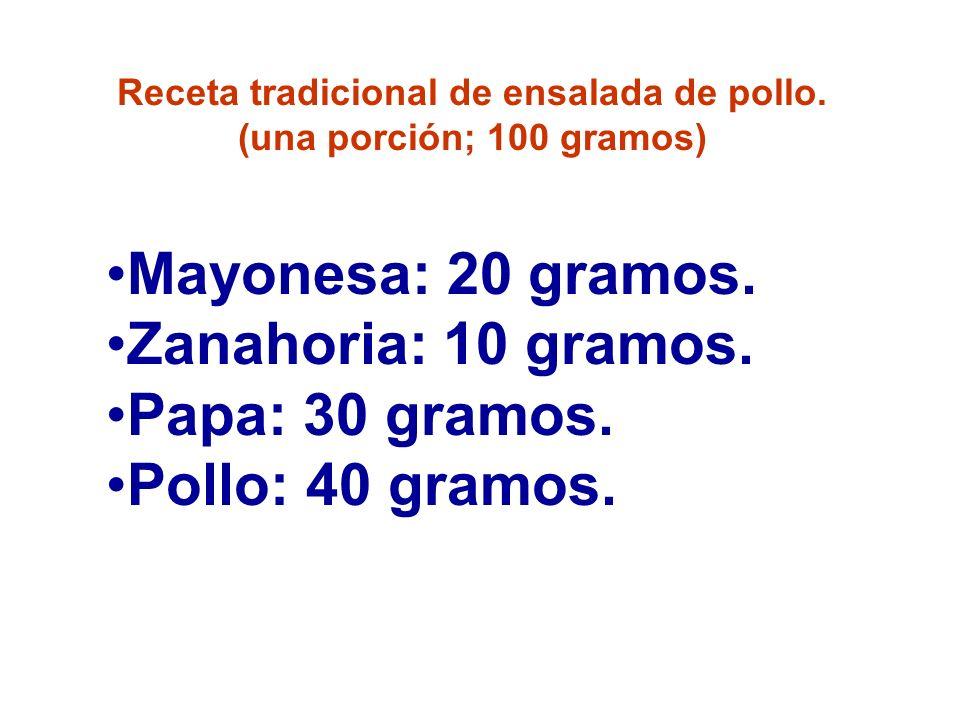 Receta tradicional de ensalada de pollo. (una porción; 100 gramos) Mayonesa: 20 gramos. Zanahoria: 10 gramos. Papa: 30 gramos. Pollo: 40 gramos.