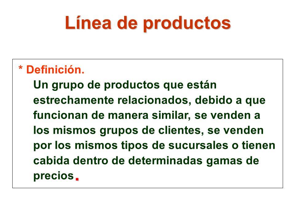 * Definición. Un grupo de productos que están estrechamente relacionados, debido a que funcionan de manera similar, se venden a los mismos grupos de c