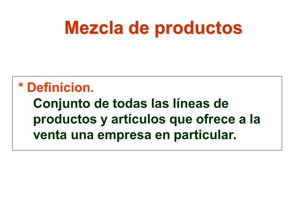 * Definicion. Conjunto de todas las líneas de productos y artículos que ofrece a la venta una empresa en particular. Mezcla de productos
