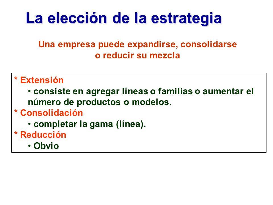 La elección de la estrategia * Extensión consiste en agregar líneas o familias o aumentar el número de productos o modelos. * Consolidación completar