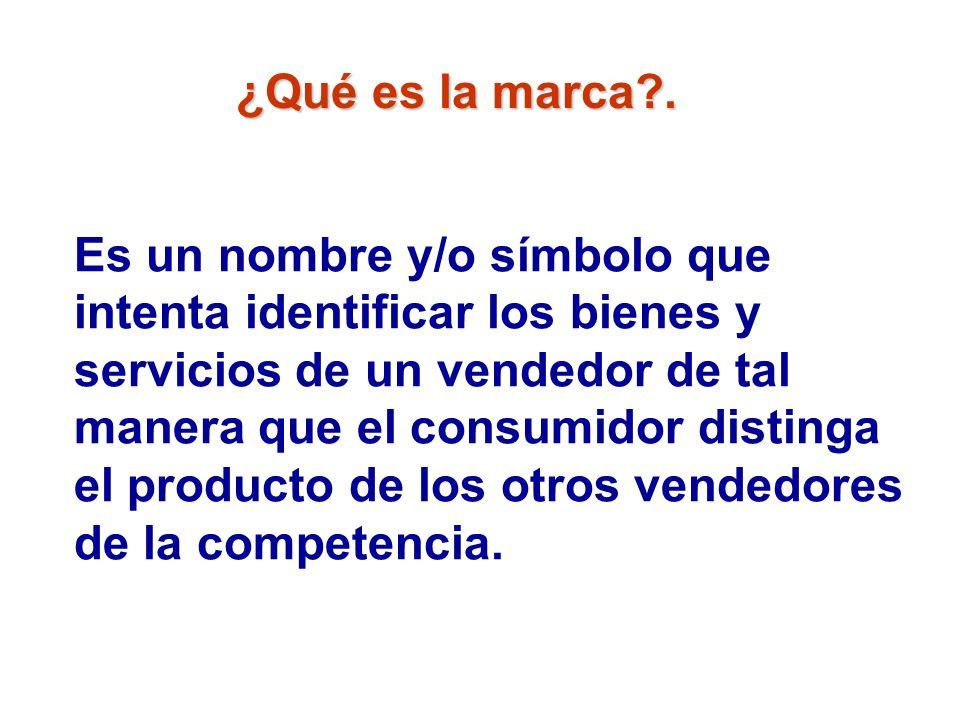 ¿Qué es la marca?. Es un nombre y/o símbolo que intenta identificar los bienes y servicios de un vendedor de tal manera que el consumidor distinga el