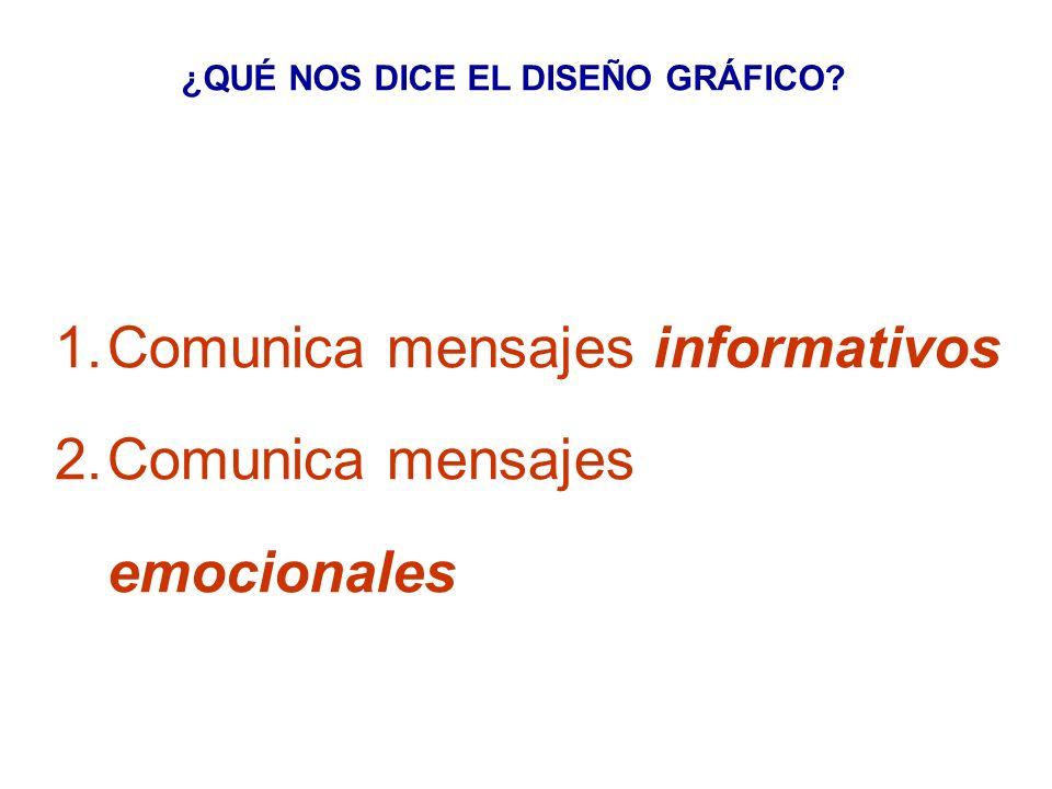 ¿QUÉ NOS DICE EL DISEÑO GRÁFICO? 1. Comunica mensajes informativos 2. Comunica mensajes emocionales