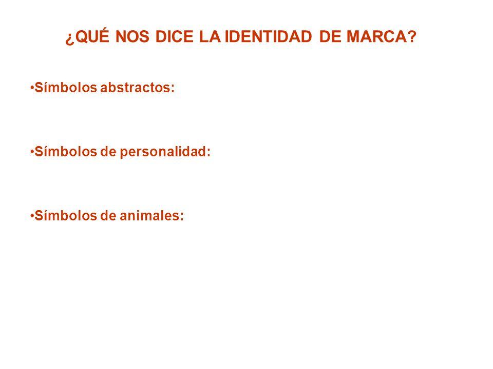 ¿QUÉ NOS DICE LA IDENTIDAD DE MARCA? Símbolos abstractos: Símbolos de personalidad: Símbolos de animales: