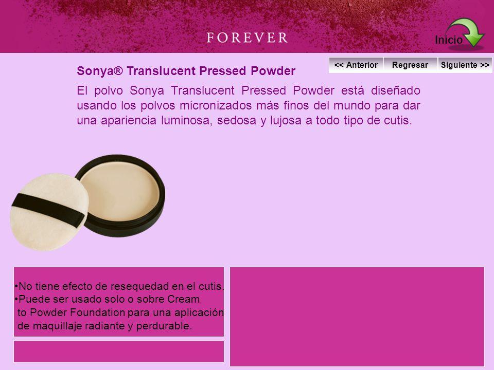 Sonya® Translucent Pressed Powder El polvo Sonya Translucent Pressed Powder está diseñado usando los polvos micronizados más finos del mundo para dar