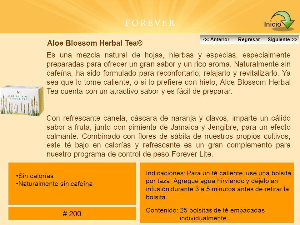 Aloe Blossom Herbal Tea® Es una mezcla natural de hojas, hierbas y especias, especialmente preparadas para ofrecer un gran sabor y un rico aroma. Natu