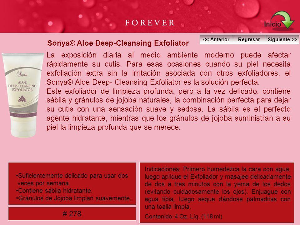 Sonya® Aloe Deep-Cleansing Exfoliator La exposición diaria al medio ambiente moderno puede afectar rápidamente su cutis. Para esas ocasiones cuando su