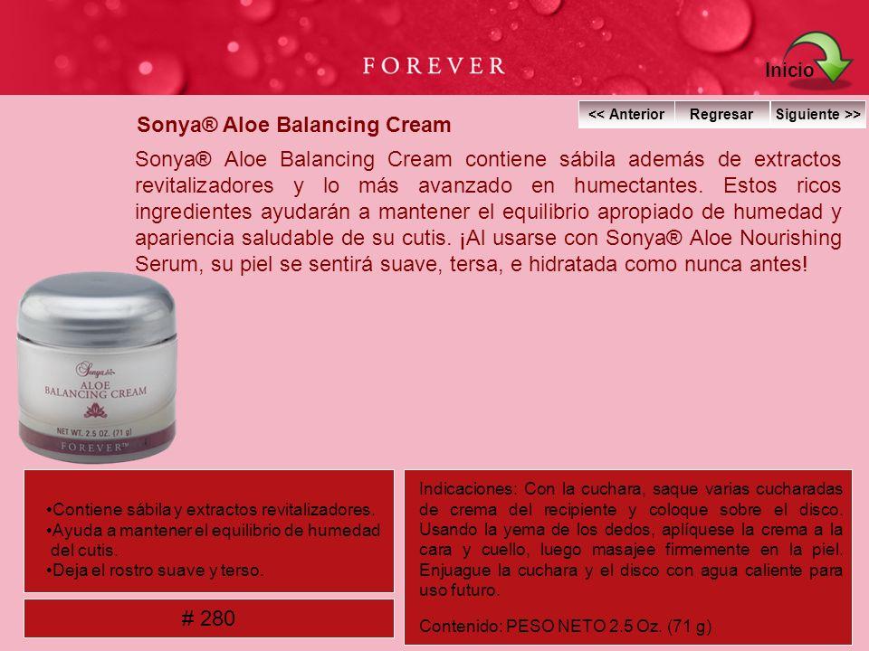 Sonya® Aloe Balancing Cream Sonya® Aloe Balancing Cream contiene sábila además de extractos revitalizadores y lo más avanzado en humectantes. Estos ri