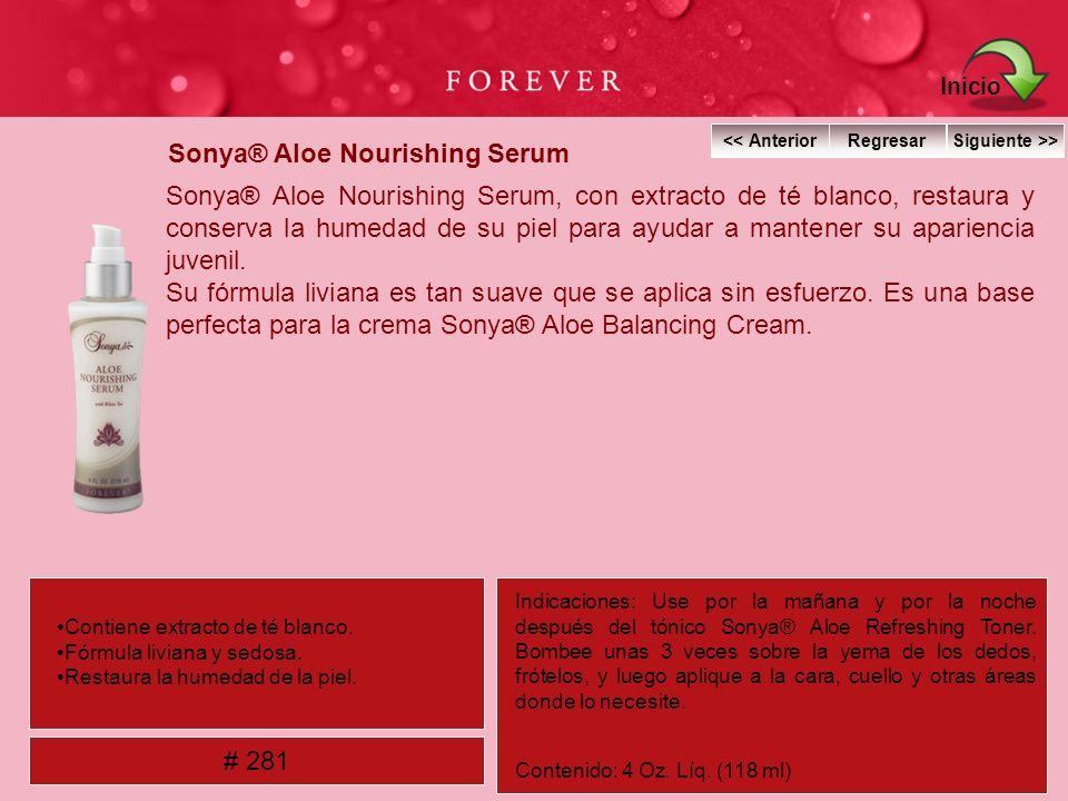 Sonya® Aloe Nourishing Serum Sonya® Aloe Nourishing Serum, con extracto de té blanco, restaura y conserva la humedad de su piel para ayudar a mantener