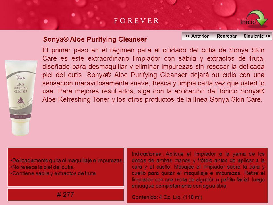 Sonya® Aloe Purifying Cleanser El primer paso en el régimen para el cuidado del cutis de Sonya Skin Care es este extraordinario limpiador con sábila y