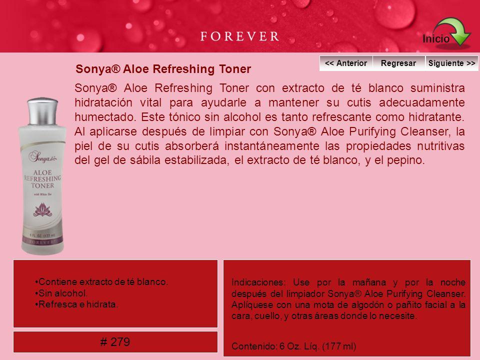 Sonya® Aloe Refreshing Toner Sonya® Aloe Refreshing Toner con extracto de té blanco suministra hidratación vital para ayudarle a mantener su cutis ade