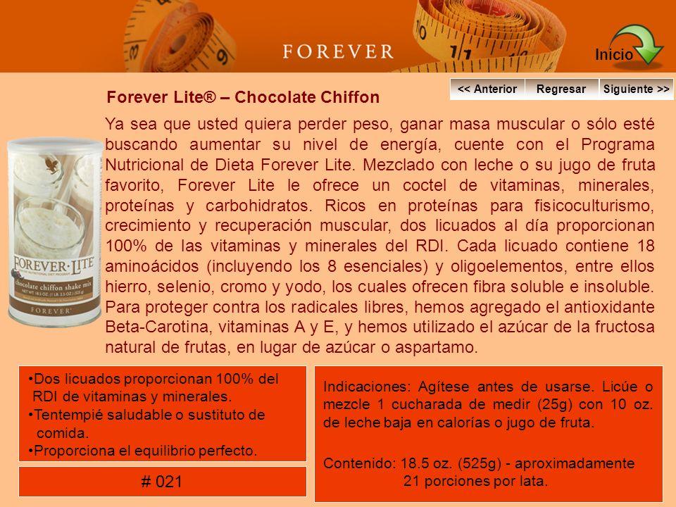 Forever Lite® – Chocolate Chiffon Ya sea que usted quiera perder peso, ganar masa muscular o sólo esté buscando aumentar su nivel de energía, cuente c