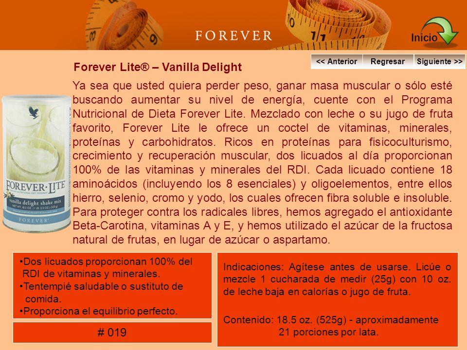 Forever Lite® – Vanilla Delight Ya sea que usted quiera perder peso, ganar masa muscular o sólo esté buscando aumentar su nivel de energía, cuente con