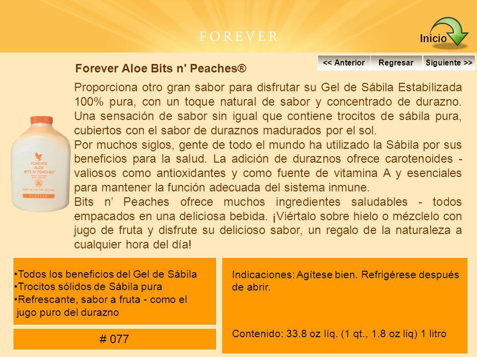 Forever Aloe Bits n' Peaches® Proporciona otro gran sabor para disfrutar su Gel de Sábila Estabilizada 100% pura, con un toque natural de sabor y conc