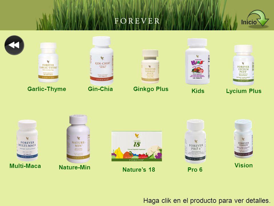 Haga clik en el producto para ver detalles. Garlic-ThymeGin-ChiaGinkgo Plus KidsLycium Plus Multi-Maca Nature-Min Natures 18Pro 6 Vision Inicio
