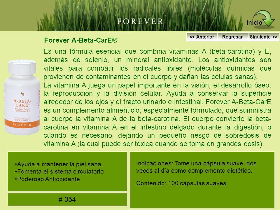 Forever A-Beta-CarE® Es una fórmula esencial que combina vitaminas A (beta-carotina) y E, además de selenio, un mineral antioxidante. Los antioxidante