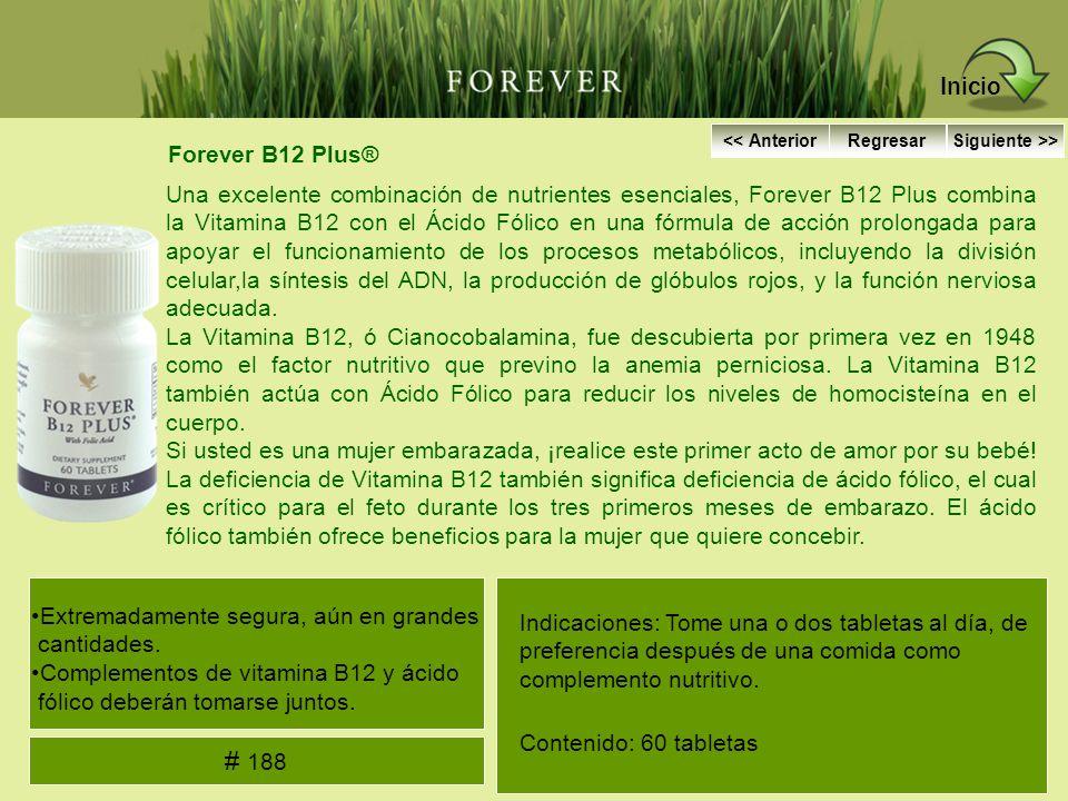 Forever B12 Plus® Una excelente combinación de nutrientes esenciales, Forever B12 Plus combina la Vitamina B12 con el Ácido Fólico en una fórmula de a