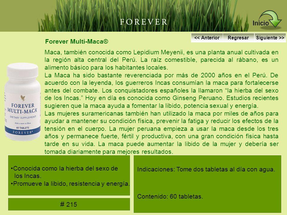 Forever Multi-Maca® Maca, también conocida como Lepidium Meyenii, es una planta anual cultivada en la región alta central del Perú. La raíz comestible
