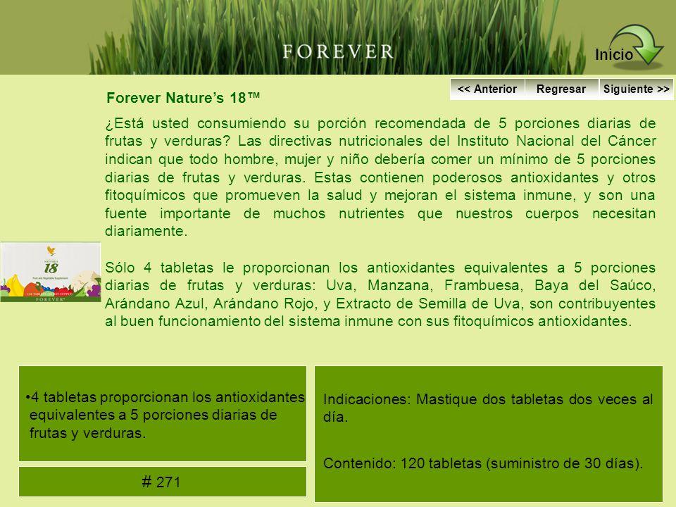 Forever Natures 18 ¿Está usted consumiendo su porción recomendada de 5 porciones diarias de frutas y verduras? Las directivas nutricionales del Instit