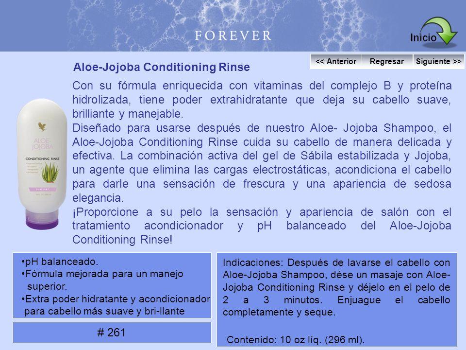 Aloe-Jojoba Conditioning Rinse Con su fórmula enriquecida con vitaminas del complejo B y proteína hidrolizada, tiene poder extrahidratante que deja su