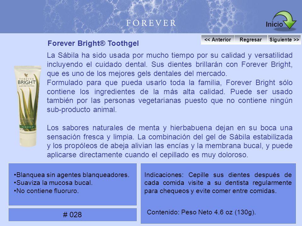 Forever Bright® Toothgel La Sábila ha sido usada por mucho tiempo por su calidad y versatilidad incluyendo el cuidado dental. Sus dientes brillarán co