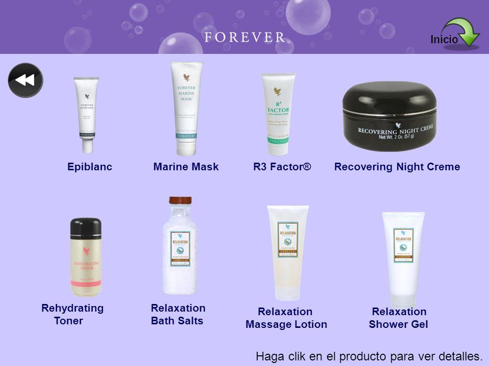 Haga clik en el producto para ver detalles. EpiblancMarine MaskR3 Factor®Recovering Night Creme Rehydrating Toner Relaxation Bath Salts Relaxation Mas