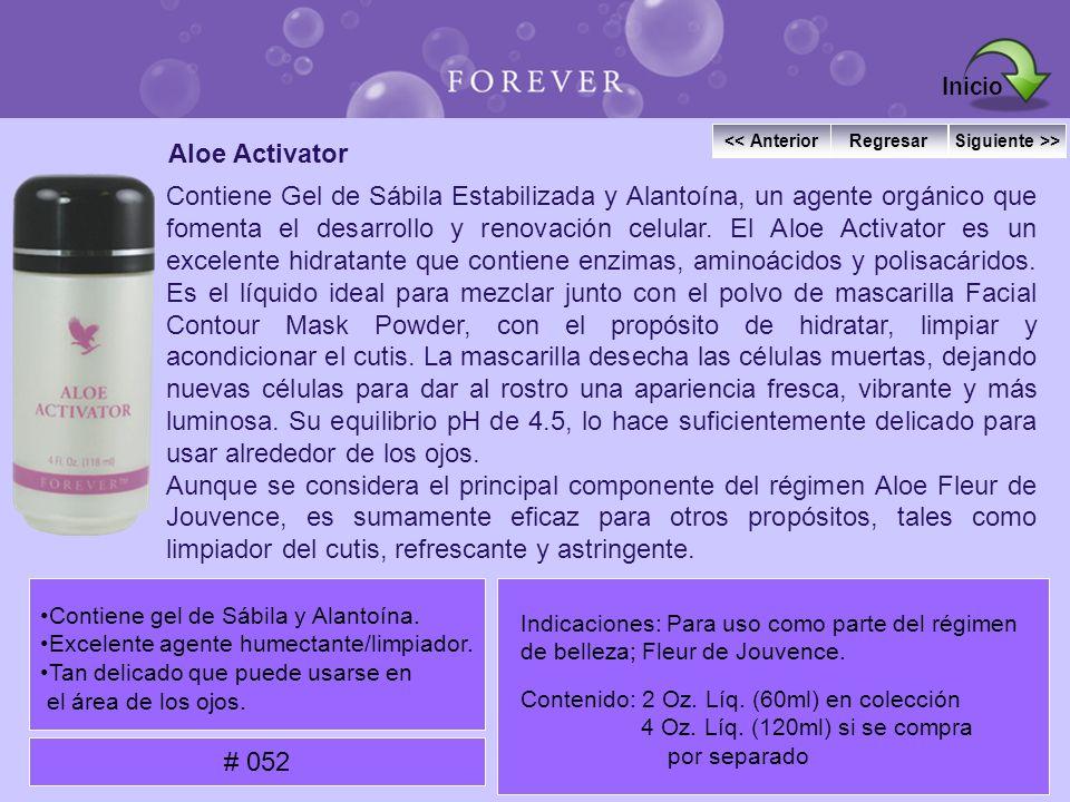 Aloe Activator Contiene Gel de Sábila Estabilizada y Alantoína, un agente orgánico que fomenta el desarrollo y renovación celular. El Aloe Activator e