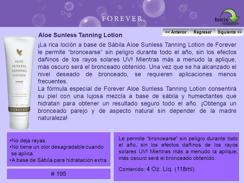 Aloe Sunless Tanning Lotion ¡La rica loción a base de Sábila Aloe Sunless Tanning Lotion de Forever le permite broncearse sin peligro durante todo el