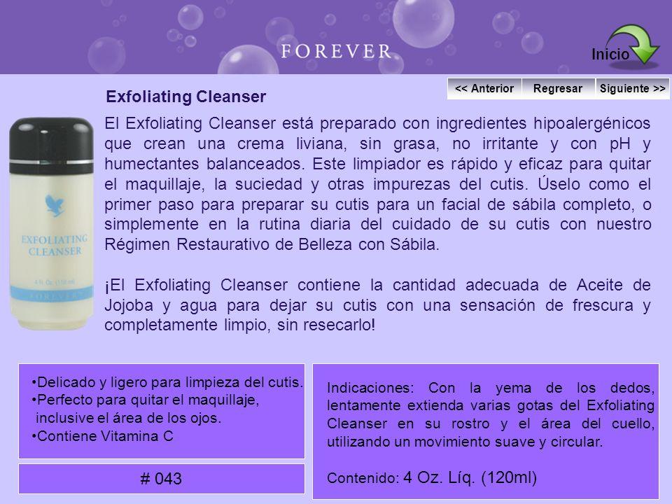 Exfoliating Cleanser El Exfoliating Cleanser está preparado con ingredientes hipoalergénicos que crean una crema liviana, sin grasa, no irritante y co