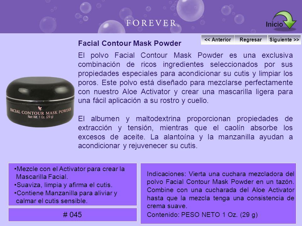 Facial Contour Mask Powder El polvo Facial Contour Mask Powder es una exclusiva combinación de ricos ingredientes seleccionados por sus propiedades es