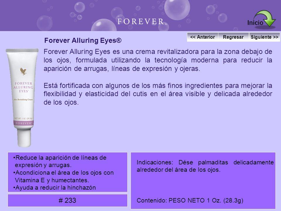 Forever Alluring Eyes® Forever Alluring Eyes es una crema revitalizadora para la zona debajo de los ojos, formulada utilizando la tecnología moderna p