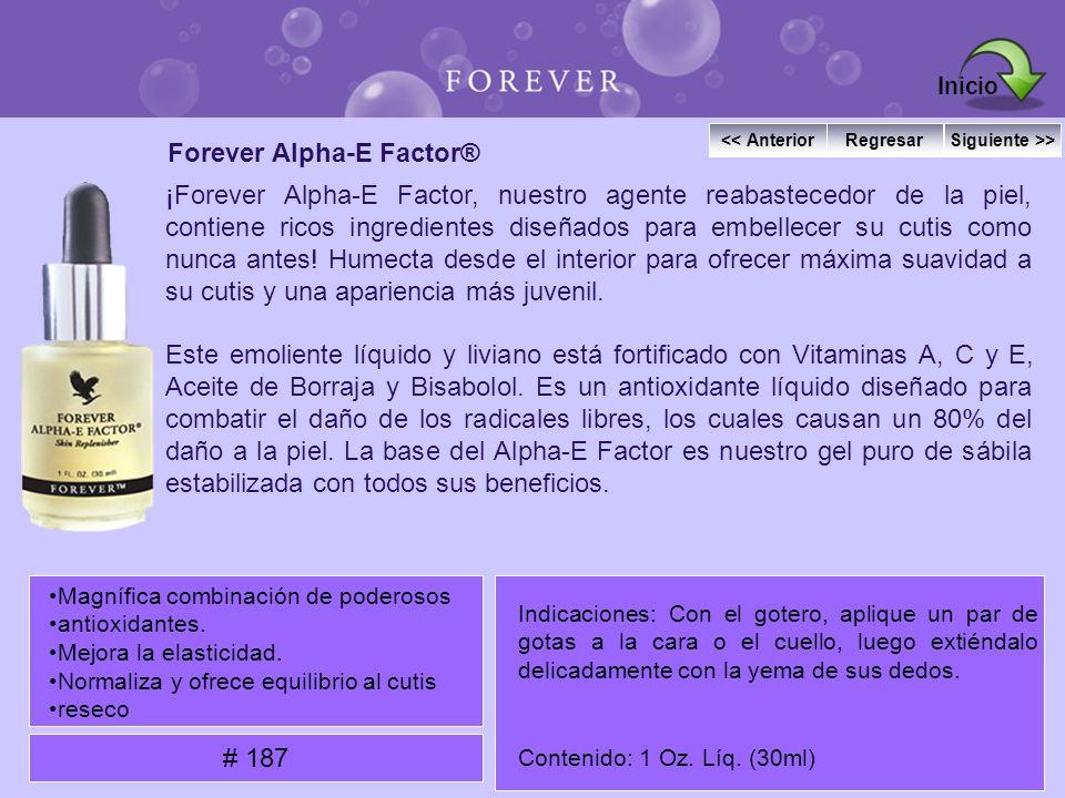 Forever Alpha-E Factor® ¡Forever Alpha-E Factor, nuestro agente reabastecedor de la piel, contiene ricos ingredientes diseñados para embellecer su cut