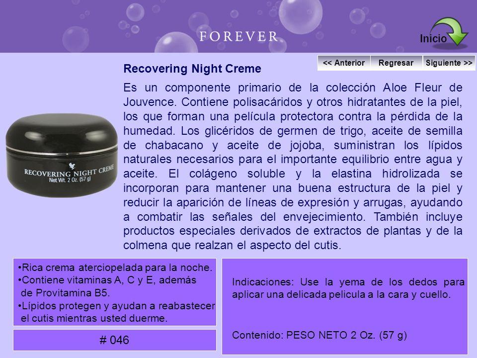 Recovering Night Creme Es un componente primario de la colección Aloe Fleur de Jouvence. Contiene polisacáridos y otros hidratantes de la piel, los qu