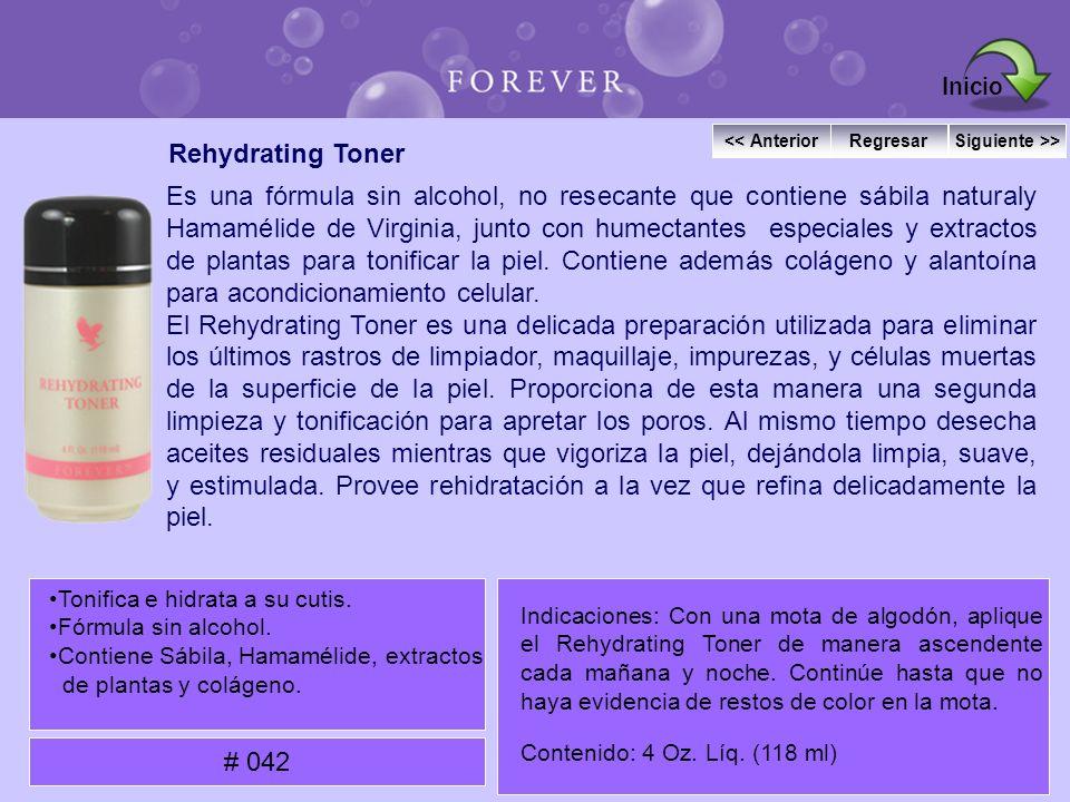 Rehydrating Toner Es una fórmula sin alcohol, no resecante que contiene sábila naturaly Hamamélide de Virginia, junto con humectantes especiales y ext
