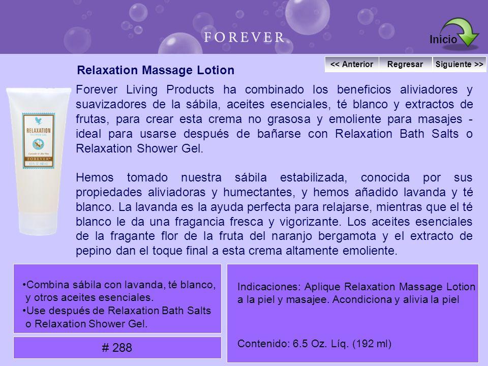 Relaxation Massage Lotion Forever Living Products ha combinado los beneficios aliviadores y suavizadores de la sábila, aceites esenciales, té blanco y