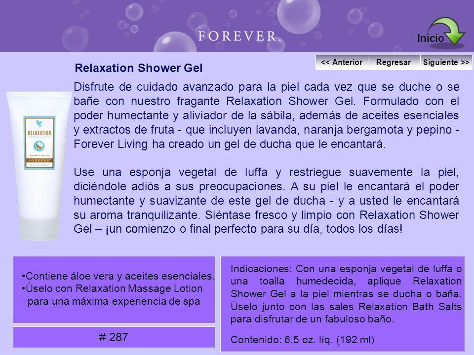 Relaxation Shower Gel Disfrute de cuidado avanzado para la piel cada vez que se duche o se bañe con nuestro fragante Relaxation Shower Gel. Formulado
