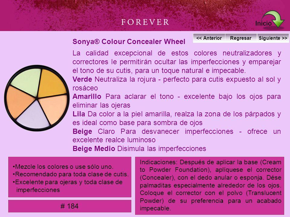 Sonya® Colour Concealer Wheel La calidad excepcional de estos colores neutralizadores y correctores le permitirán ocultar las imperfecciones y emparej