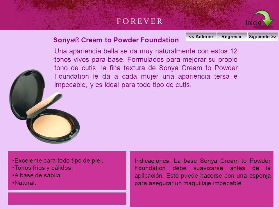 Sonya® Cream to Powder Foundation Una apariencia bella se da muy naturalmente con estos 12 tonos vivos para base. Formulados para mejorar su propio to