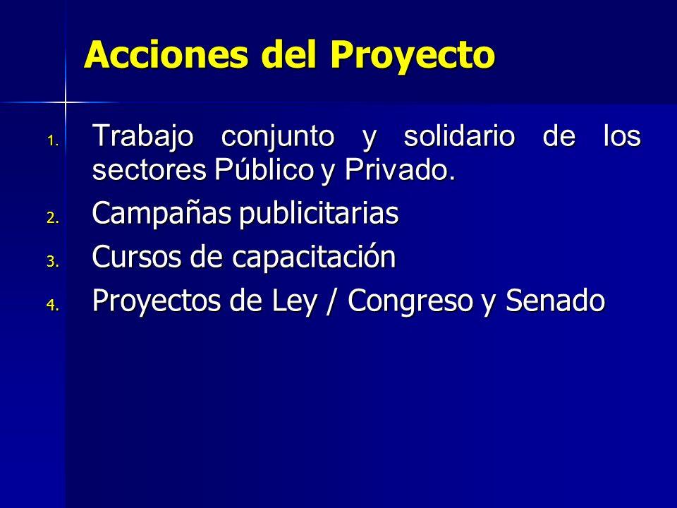 Acciones del Proyecto 1. Trabajo conjunto y solidario de los sectores Público y Privado. 2. Campañas publicitarias 3. Cursos de capacitación 4. Proyec
