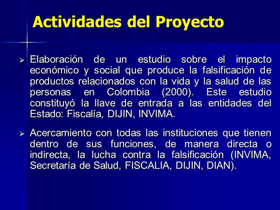 Actividades del Proyecto Elaboración de un estudio sobre el impacto económico y social que produce la falsificación de productos relacionados con la vida y la salud de las personas en Colombia (2000).