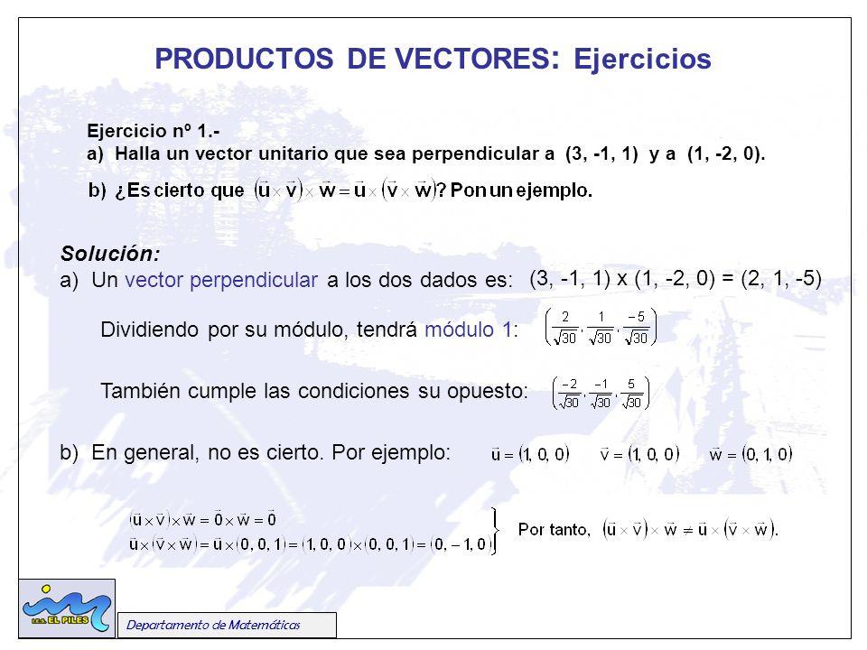 Departamento de Matemáticas Ejercicio nº 1.- a) Halla un vector unitario que sea perpendicular a (3, -1, 1) y a (1, -2, 0).