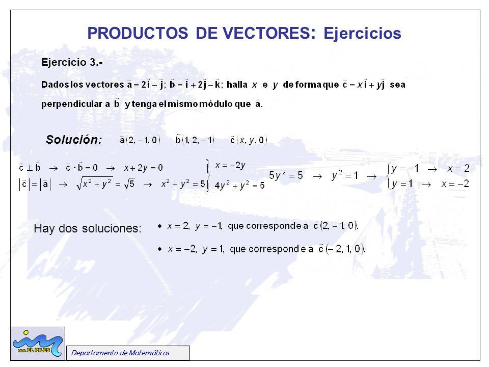 Departamento de Matemáticas PRODUCTOS DE VECTORES : Ejercicios Ejercicio 3.- Solución: Hay dos soluciones: