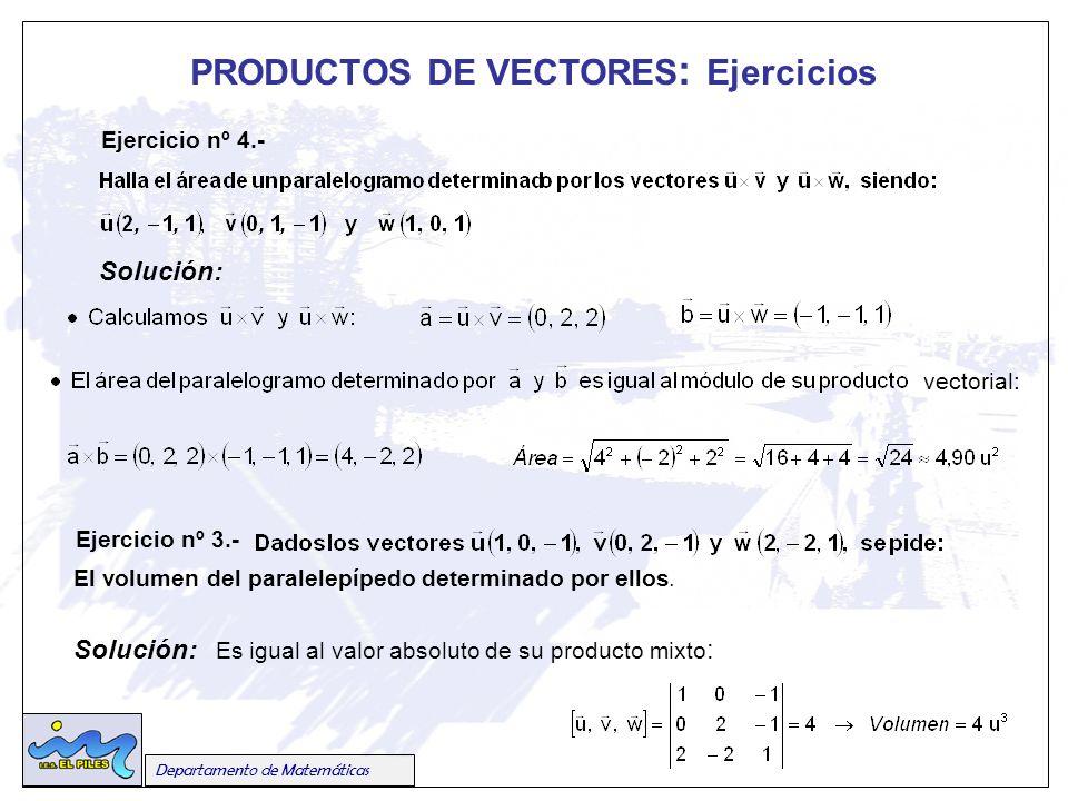 Departamento de Matemáticas PRODUCTOS DE VECTORES : Ejercicios Ejercicio nº 4.- Solución: vectorial: Ejercicio nº 3.- El volumen del paralelepípedo determinado por ellos.
