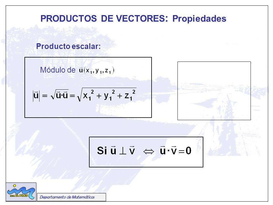 PRODUCTOS DE VECTORES : Propiedades Departamento de Matemáticas Producto escalar: Módulo de un vector Módulo de