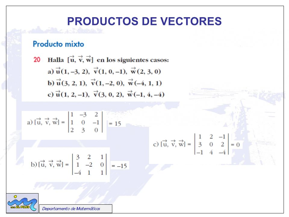 Departamento de Matemáticas PRODUCTOS DE VECTORES