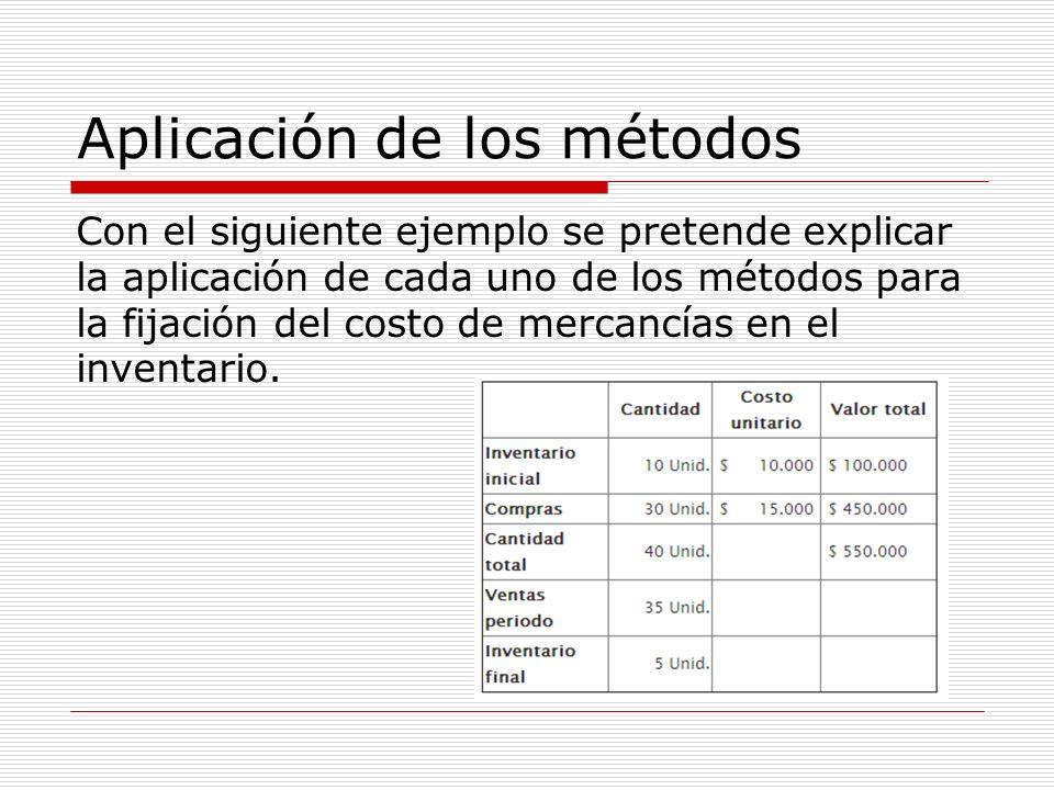 Aplicación de los métodos Con el siguiente ejemplo se pretende explicar la aplicación de cada uno de los métodos para la fijación del costo de mercanc