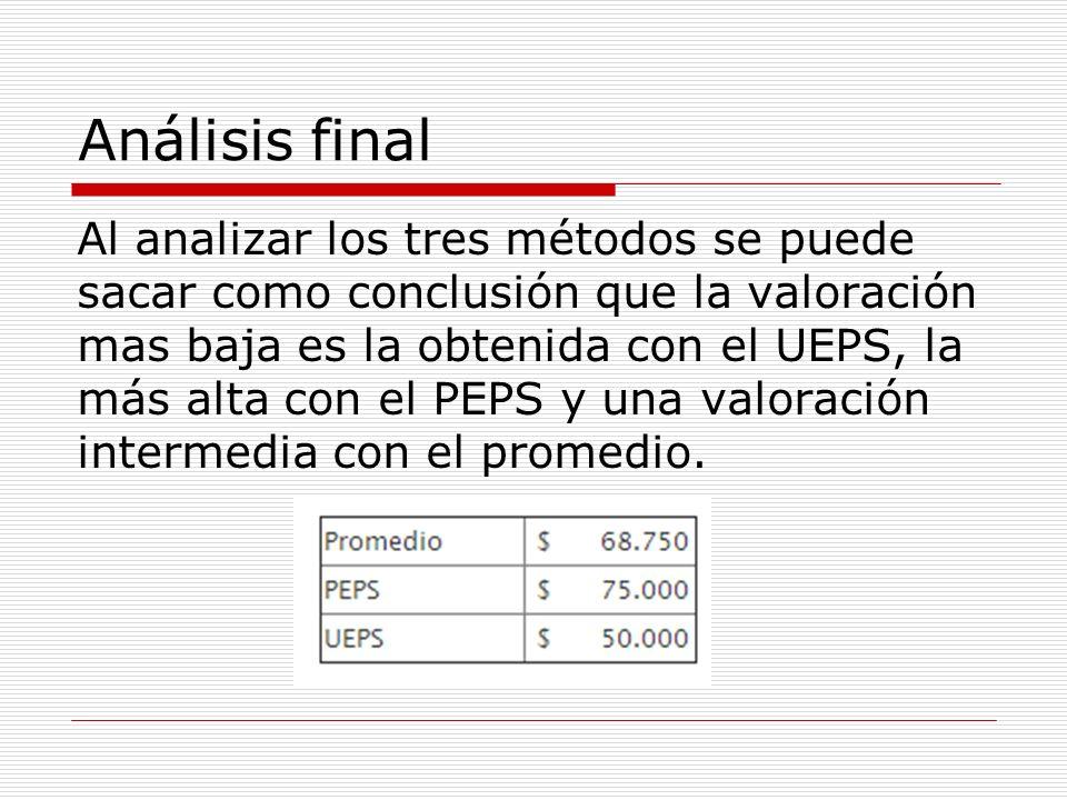 Análisis final Al analizar los tres métodos se puede sacar como conclusión que la valoración mas baja es la obtenida con el UEPS, la más alta con el P