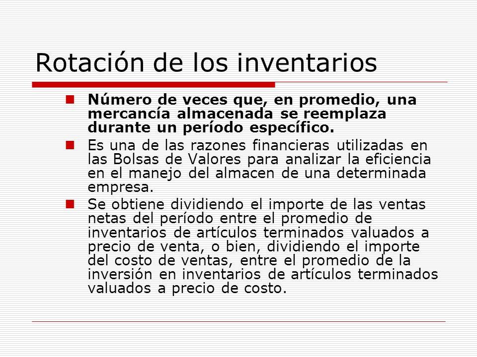 Rotación de los inventarios Número de veces que, en promedio, una mercancía almacenada se reemplaza durante un período específico. Es una de las razon