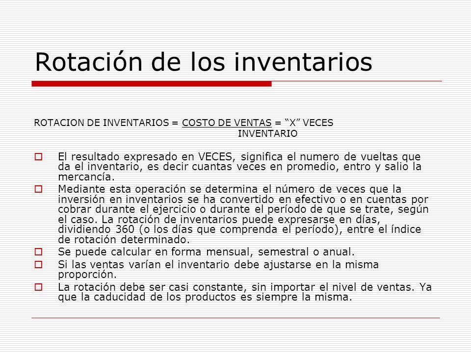 Rotación de los inventarios ROTACION DE INVENTARIOS = COSTO DE VENTAS = X VECES INVENTARIO El resultado expresado en VECES, significa el numero de vue